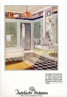 1924 Advertising Fairfacts Fixtures Luxury Built in Your Bathroom Walls Vintage Room, Vintage Decor, Vintage Houses, Vintage Kitchen, House Design Photos, Cool House Designs, Art Deco Bathroom, 1920s Bathroom, Art Quotidien