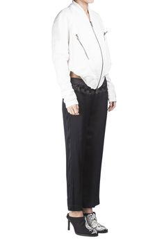 Ann Demeulemeester Black Embroidered Panel Pants #Shopafar #AnnDemeulemeester #fashion #luxury #lace #silk #detail #ss15