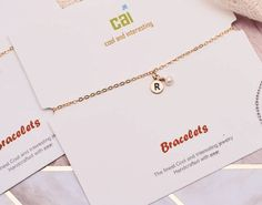 Bridesmaid Initial Bracelet by Cool and Interesting Initial Bracelet, Bridal Collection, Handcrafted Jewelry, Initials, Bridal Shower, Gold Necklace, Bridesmaid, Cool Stuff, Gifts