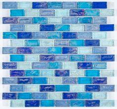 Iridescent Glass Mosaic Tile Cobalt Blend 1x2 | Mineral Tiles