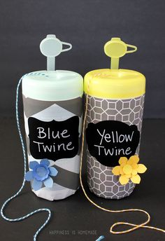 Your empty Wet One's canisters can double-up as organization pieces for your craft room! Check out these DIY twine holders via @hihomemadeblog.