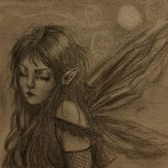 Image about black in fairy grunge drawings by youhatetosmokewithoutme Fairy Drawings, Art Drawings Sketches, Pretty Art, Cute Art, Aesthetic Art, Aesthetic Pictures, Aesthetic Grunge, Arte Grunge, Arte Sketchbook