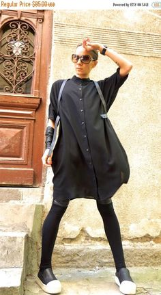 Extravagant Black flattering loose maxi shirt , so elegant and comfy ... Buttons all the way down , loose stylish sleeves ,side pockets... Perfect solution for your everyday outfit:) ...not only... It is a dress... it is a tunic... it is a shirt... it is a vest.... it is whatever you want and need :) This would be turn around garment wherever you go! Your fashion update , your home entertainment your casual style ,your beach cover up, your party inspiration and so...so ...on:) Light a...