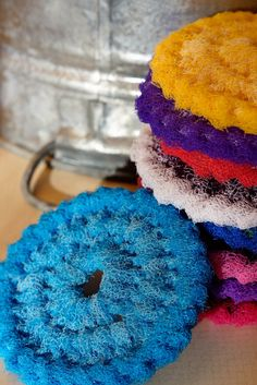 Nylon Pot Scrubber Dish scrubber, Crocheted Scrubbie, Set of 6 Multi Colored Double Layered 4 to 5 Inches Diameter All Sylvia's Creations Crochet Scrubbies, Knit Crochet, Crochet Hats, Homemade Cleaning Products, Cleaning Recipes, Crochet Kitchen, Crochet Patterns, Crochet Ideas, Unique Vintage