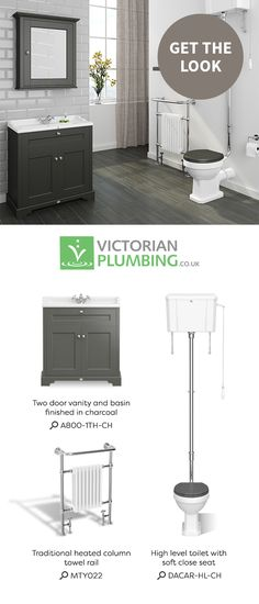 Create a beautiful traditional bathroom with a selection of sophisticated products such as charcoal grey furniture, a classic column radiator and a high level cistern.