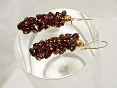 14k Gold Genuine Garnet Earrings, Cluster Earrings, Garnet Dangle Earrings, Grape Cluster, Gold Garnet Earrings,14k Gold Wires by Oldtreasuretrunk on Etsy