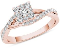 Zales 1/2 CT. T.W. Composite Diamond Square Bypass Twist Shank Engagement Ring in 14K Rose Gold