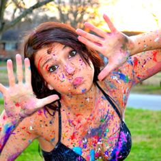 Paint Fight!!! could be fun for a senior session (Best Friend Style)