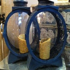Metal with glass front candle lamps found at Centuries in Birmingham. Love them.