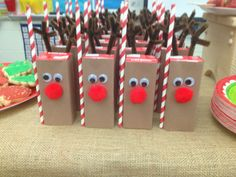 Class Christmas party, Christmas ideas..Christmas Kit to make 25 Reindeer Covered Juice by susanefird