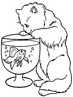 Dibujo para colorear de gatos (nº 9)