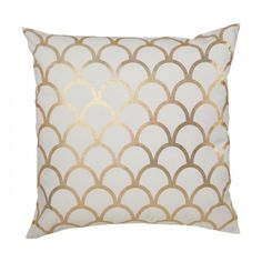#caitlinwilson	 GOLD SCALLOP PILLOW Strong scales of the scallop evoke images of the south China sea. An adventurous print, it is sure to take center stage