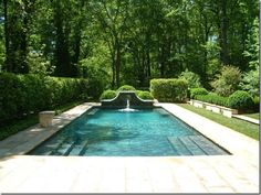 Beautiful garden and trees around pool. By Howard Design Studio #pool #outdoors