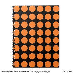 Orange Polka Dots Black Notebook