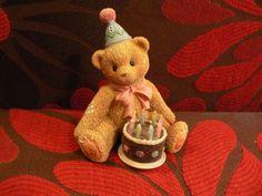 Cherished Teddies Birthday Teddy Bear Eight is Great Birthday Cake Candles Hat