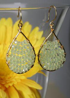 Opal Green Pastel Crystal Tear Drop Beaded Hoops Earrings. $39.99, via Etsy.