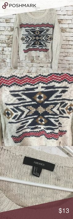 """Forever 21 small boho knit Aztec print sweater 22"""" chest measurement . In great condition!! Bundle & save or ask for discounts, lots of clothes up, we add new inventory everyday, make sure to come back anlet us know for additional discount. Forever 21 Sweaters Crew & Scoop Necks"""