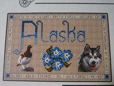 Designed by Lavender Wings Stitched by Me  These will be stitched on a beige 14ct aida fabric   Choose your State of- Alaska, Arizona, Utah, New Mexico, Hawaii  Each has a ... #craftshout #etsyseller #crossstitch #etsyshop #etsychaching