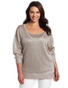 Calvin Klein Women's Plus-size Shimmer Scoop Neck Top, Platinum, 0X Calvin Klein. $89.50
