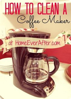 How to Clean a Coffee Pot (Carafe) at Home Ever After. Click the picture for the tutorial. http://www.homeeverafter.com/how-to-clean-a-coffee-maker/ #HomeEverAfter