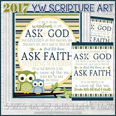 The 2017 Mutual Theme for LDS Youth is Ask of God - based on the scripture James 1:5-6. Giving the youth something to display at home helps reinforce the theme and keep it near their mind throughout the year! ★ GREAT gift to introduce the 2017 Theme!  ★ Perfect Christmas or Birthday Gift  ★ Awesome Centerpiece and Gift for New Beginnings  ★ Great addition to a Bulletin Board!  INCLUDED IN THIS LISTING: This listing includes the two Subway Art images shown - each as 4x6, 5x7, 8x10, 11x14…