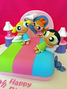 """- Powerpuff Girls having a playful pillow fight before bedtime:) Another cake i made followed instruction from Debbie's Brown book  """"Cartoon cakes"""""""