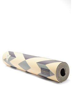 Pendleton - Pendleton's orange, beige and blue yoga mat is printed with a striking geometric Fire Legend pattern, which is inspired by a Native American tale of a brave hero who disguised himself as a rabbit to capture fire for his people. It's made in the USA in collaboration with yoga specialists Yeti from anti-slip PVC that provides ample cushioning and features a black grooved-rubber reverse. Pendleton Round Up, Collaboration, Brave, Native American, Rabbit, The Past, Hero, Yoga, Inspired