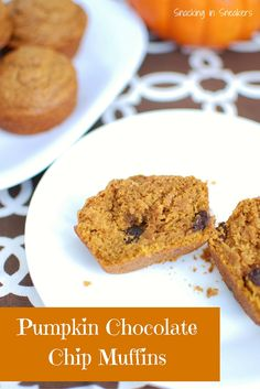 These Pumpkin Chocolate Chip Muffins are delicious - a perfect blend of fall pumpkin flavor and rich dark chocolate!