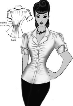 1940s Inspired Ruched Blouse by Amber Middaugh  This pattern design won and is being made into a Virtual Prototype pattern by Chicstar.com.