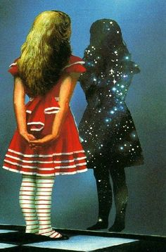 Alice out of the wonderland of the Victorian Era now is  peering into the Hubble universe...