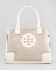 Ella Mini Crinkled Tote, Shell - Neiman Marcus    Love this! So fun for winter