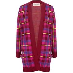 Etre Cecile  - PLAID OVERSIZED CARDIGAN ($425) ❤ liked on Polyvore featuring tops, cardigans, over sized cardigan, cardigan jacket, red cardigan, cut loose tops and loose cardigan
