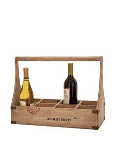 Wooden wine bottle carrier.