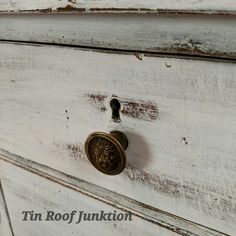 Milk paint finish on antique dresser. Love old keyholes and chippy distressed details