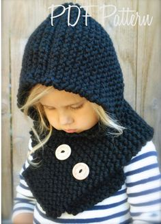 Knitting PATTERN-The Hayleigh Hood (12 18 months, Toddler,Child, Adult  sizes) 08975849e61