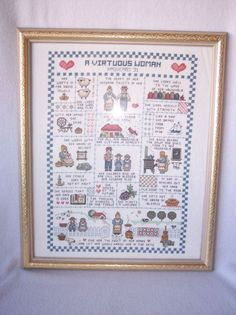 Vintage Finished Cross Stitch Framed A Virtuous Woman Proverbs 31 Sampler