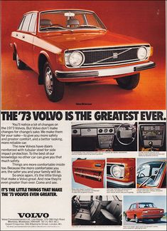 Volvo 144 revision) - elements of what would appear in the 244 Ford, Vintage Advertisements, Vintage Ads, Volvo Ad, Gp F1, Car Brochure, Ad Car, Import Cars, Car Advertising
