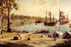 Sydney Cove, First Fleet, Australia Sydney Australia Travel, Australia Day, First Fleet, Colonial Art, Bird People, Social Art, Live In The Now, East Coast, History