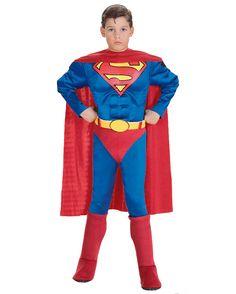 Superman Kinderkostüm mit Muskel Brustpanzer | Superman Faschingskostüm | horror-shop.com  #Superman #Superhero