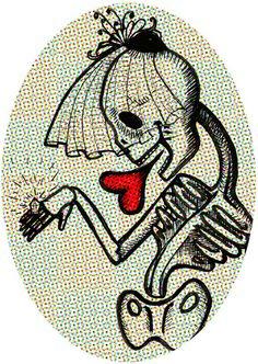 Skull Bride  by Giuditta Matteucci    HOODY / UNISEX PULLOVER HEATHER GREY SMALL  $38.00  http://society6.com/giudit/Skull-Bride_Print