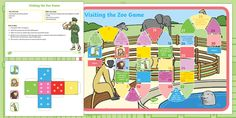 This is a board game based on the animals you might see in the zoo. Children practise taking turns and waiting for their turn whilst playing this game. The board, dice and counters are included. Dear Zoo, Social Emotional Development, In The Zoo, Free Teaching Resources, Game 1, Games To Play, Board Games, Learning, Dice