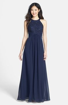 Eliza J Beaded Lace & Chiffon Gown available at #Nordstrom