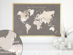 Custom quote - printable world map with countries in neutrals and distressed texture. Color combo: Earth colors #CustomArtPrint #CustomPrintable #CustomMapPoster #custom #CustomMap #CustomDesignedPrintable #neutrals #EarthTones #CustomMapPrint #CustomQuote