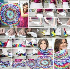 Mandala tie dye (no instructions) Shibori, How To Tie Dye, How To Dye Fabric, Tie Dye Folding Techniques, Fabric Dyeing Techniques, Tie Dye Tutorial, Diy Tie Dye Shirts, Tie Dye Party, Bleach Tie Dye