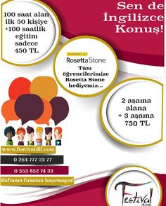 Kasım ayına özel fırsatlarımızı kaçırmayın. #festivaldilokulu #sakarya #adapazarı #ef #rosettastone # dilkursu #yabancıdileğitimi #sau #sakaryauniversitesi #workandtravel Dil, Rosetta Stone