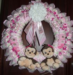 Baby Girls  Twins Diaper Wreath by dorenetx on Etsy