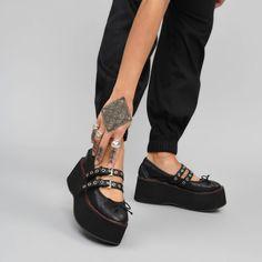 5ac50613072 Black Mega Platform Ballet Shoes with Red Stitching – KOI footwear