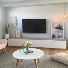 "Boho Scandi lounge room by Sapphire Living Interiors (@sapphire_living) on Instagram: ""TV unit arrived today!! Woohoo! With such a big space between the bulk head we opted for an XL tv…"""
