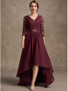 A-Line Square Neckline Asymmetrical Chiffon Mother of the Bride Dress With Appliques Lace Sequins (008235589) - JJ's House Brides Mom Dress, Lace Evening Dresses, Wedding Dresses, Vow Renewal Dress, Custom Dresses, Mother Of The Bride, Plus Size Dresses, Sequins, Summer Fall