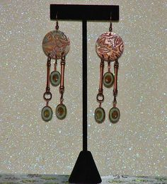 "MCFROGGY'S ORIGINAL ONE-OF-A-KIND HANDCRAFTED EMBOSSED STEAMPUNK EARRINGS-CZECH-COPPER-BLUE-GREEN-4""-INCLUDES FREE GIFT-CERTIFICATE OF AUTHENTICITY & GIFT BAG-$19.99 